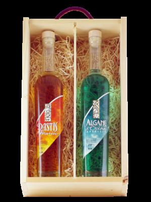 Boite bois coffret de la Mer Algane et Pastis Marin