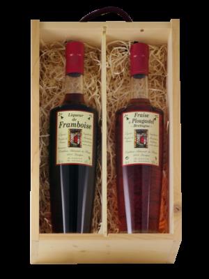 boite bois 2 liqueurs de la Distillerie du Plessis